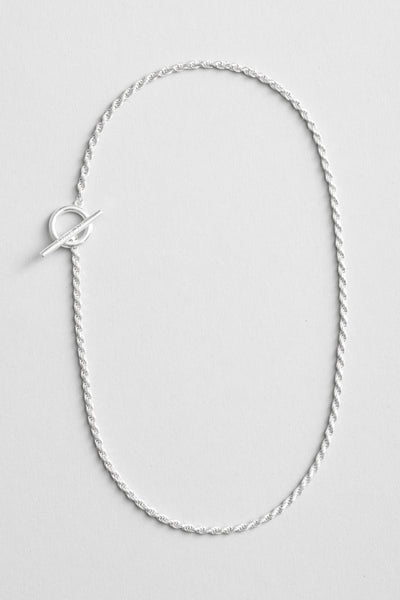 all blues - Rope Necklace Polished Silver Short