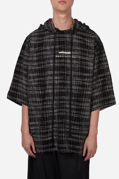 "Song for the mute - Tartan Check ""Wander"" Quarter Sleeve Hooded Jumper Black/White"