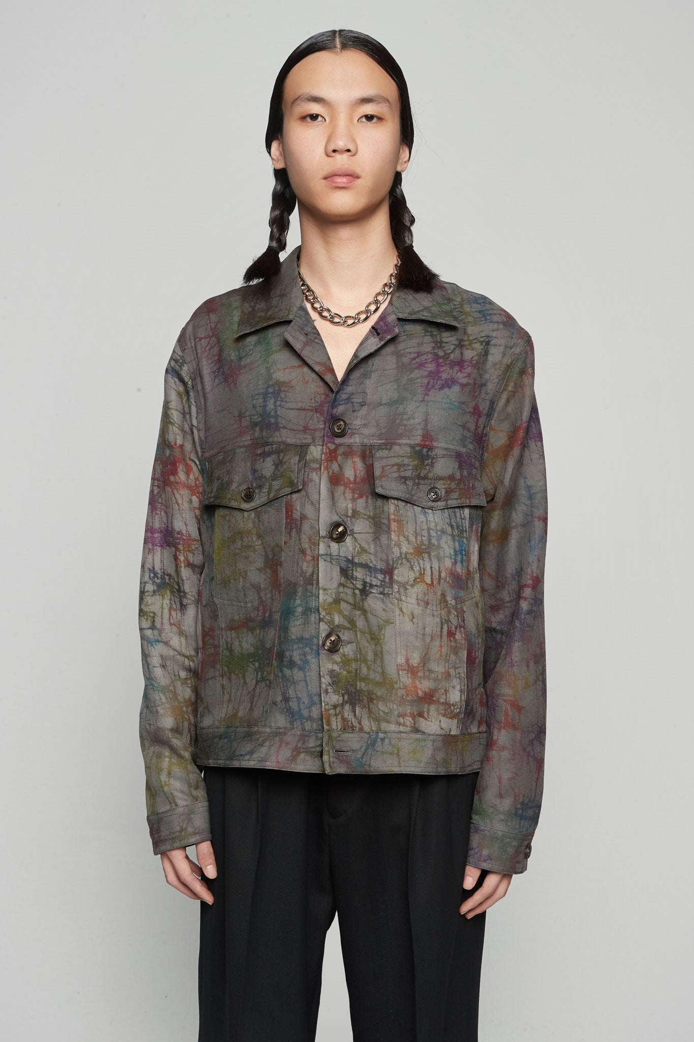 Worker Jacket Tie Dye Charcoal