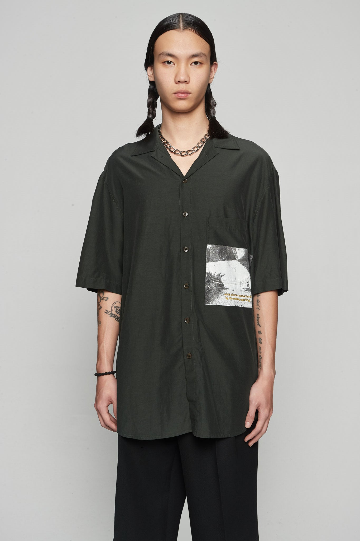 ''Pool'' Print S/s Oversized Shirt Green