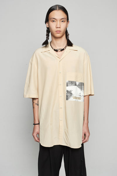 Song for the mute - 'Pool'' Print S/s Oversized Shirt Bone