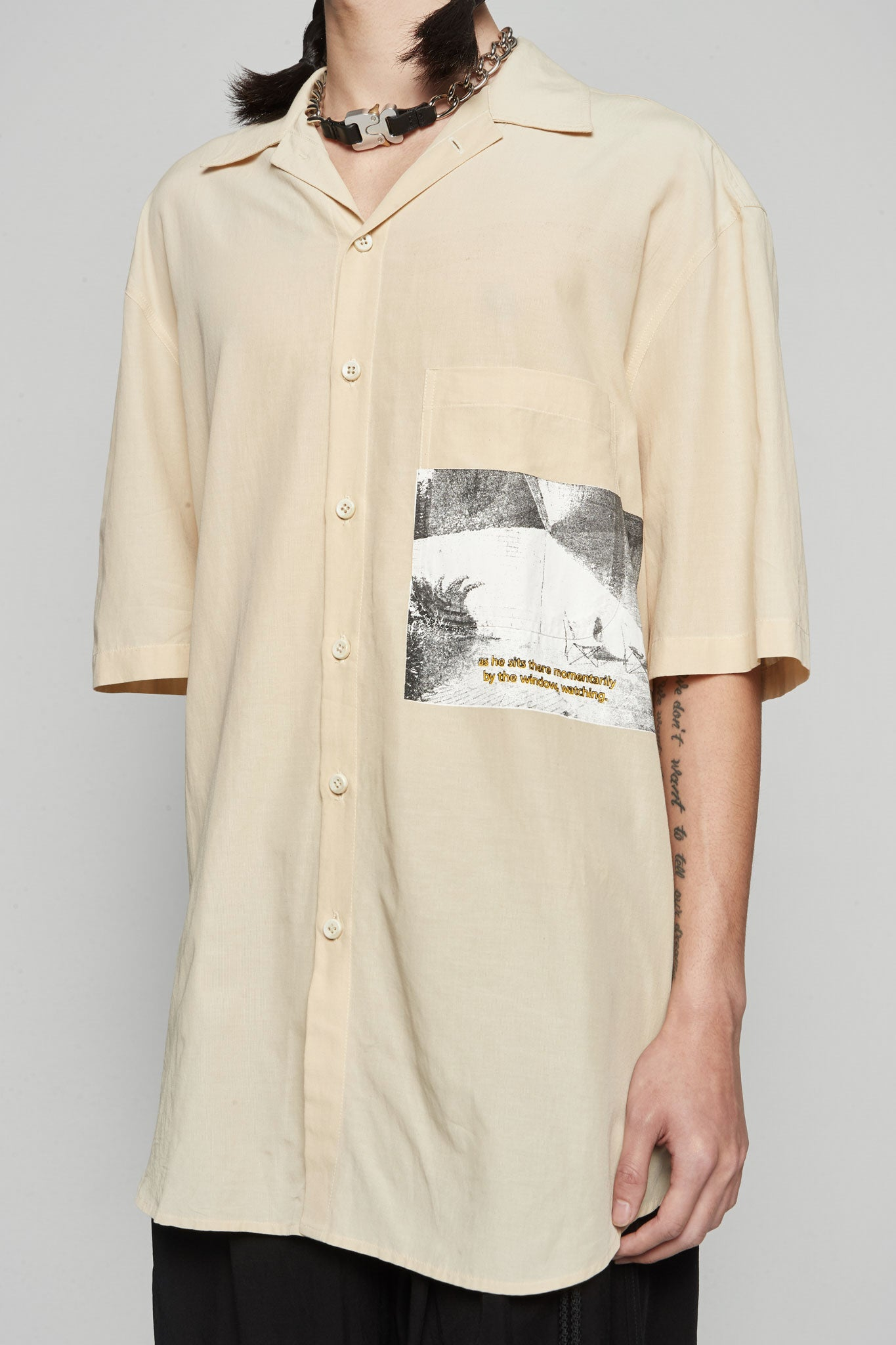 'Pool'' Print S/s Oversized Shirt Bone