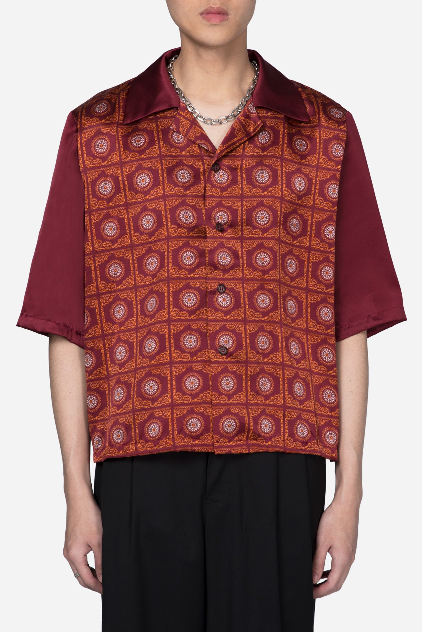 Vacay Cropped Silk Shirt Pepper Red Thai