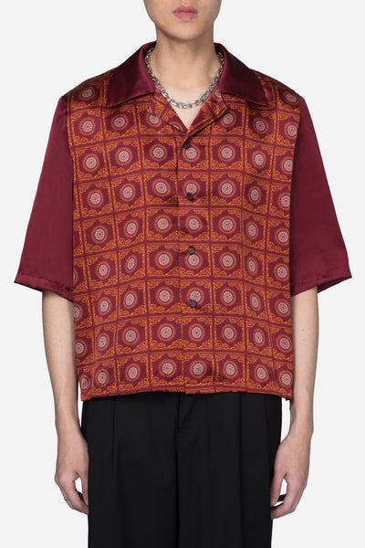 Pressured Paradise - Vacay Cropped Silk Shirt Pepper Red Thai