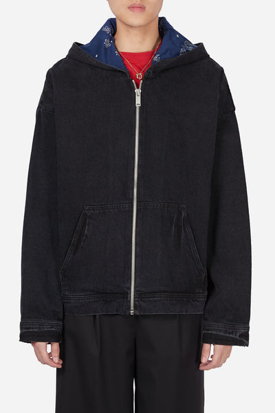 424 - Washed Black Oversized Denim Hoodie With Paisley Hood