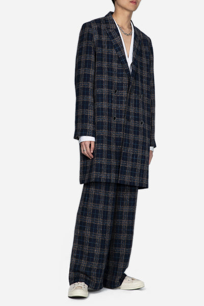 Polar Peak Lapel Double Breast Coat Royal Lake Mixed Plaid