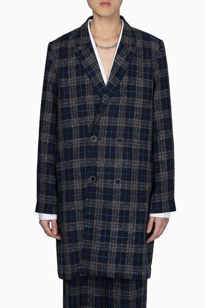 Pressured Paradise - Polar Peak Lapel Double Breast Coat Royal Lake Mixed Plaid