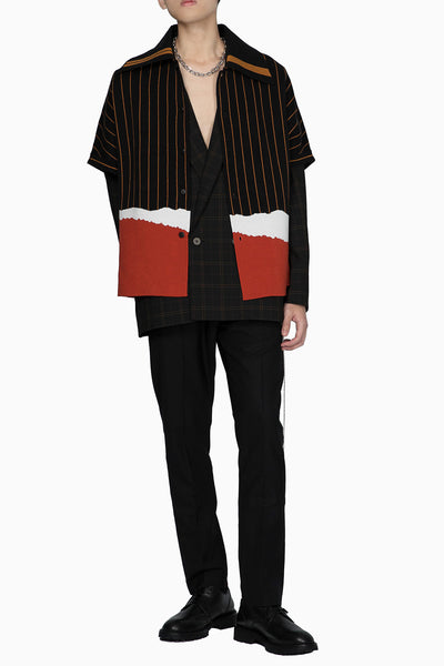 Tsuno Cut Gragient Sweater Dry Onyx + Pepper Red