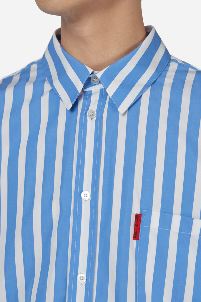 Oversized Short Sleeve Shirt Blue White Stripe