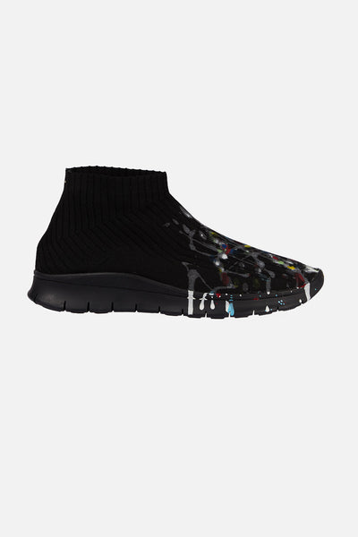 Maison Margiela - Black Painter Treatment Knit Socks Sneakers