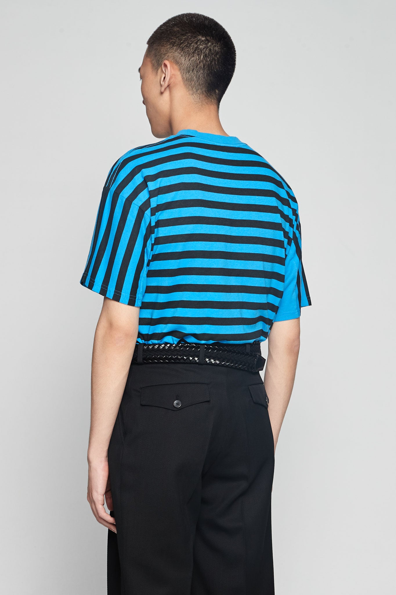 Oversized Stripe Tee Black/Blue