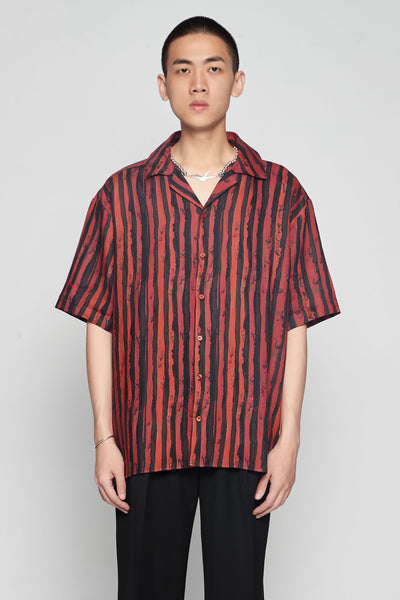 Martine Rose - Hawaiian Shirt Red Stripe
