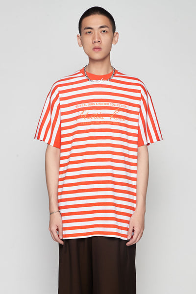 Martine Rose - Oversized Stripe Tee Orange/white