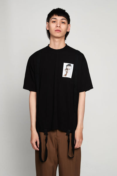 Komakino - Boxy Cut Jersey T-shirt Crashed 3m Black