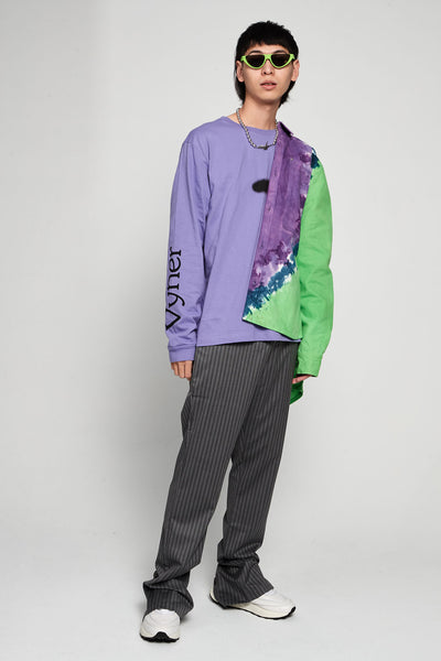 Acid Spray Print Long Sleeves T-shirt Jersey Lilac