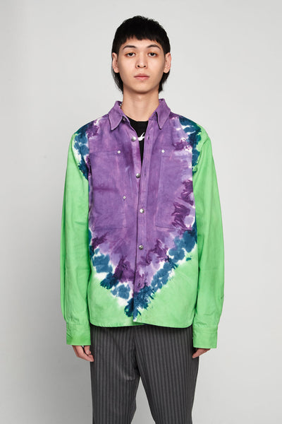 Vyner Articles - Tie Dye Worker Shirt Canvas Lilac/green
