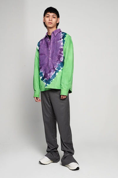 Tie Dye Worker Shirt Canvas Lilac/green