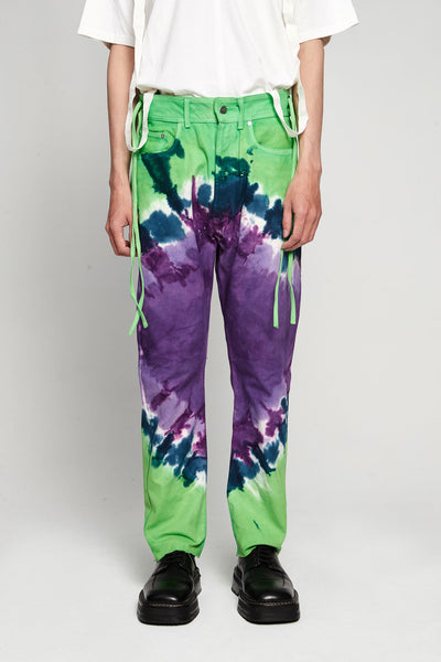 Vyner Articles - Tie Dye Karate Pant Canvas Lilac/green