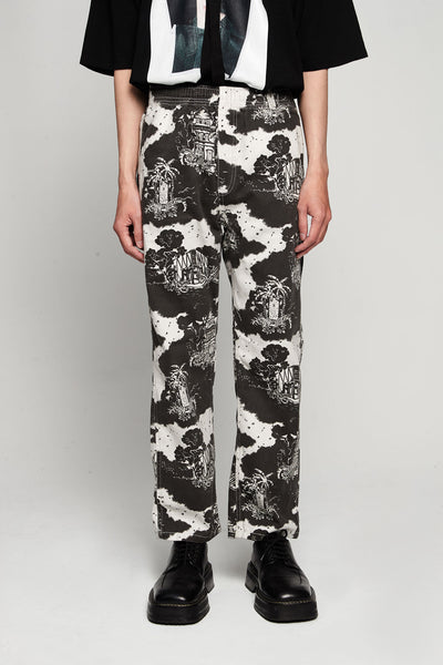 Vyner Articles - Hawaiian Print Elasticated Pant Twill Black/white
