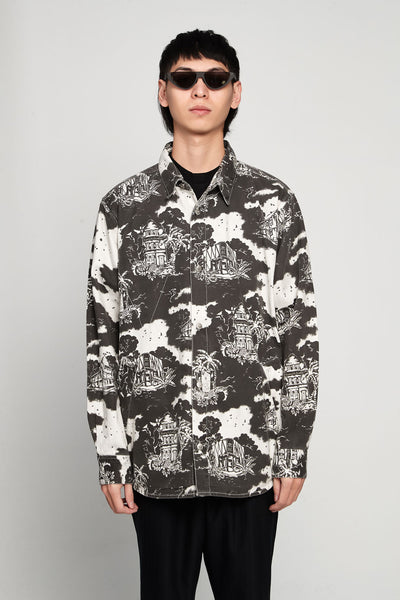 Vyner Articles - Hawaiian Print Overshirt Twill Black/white