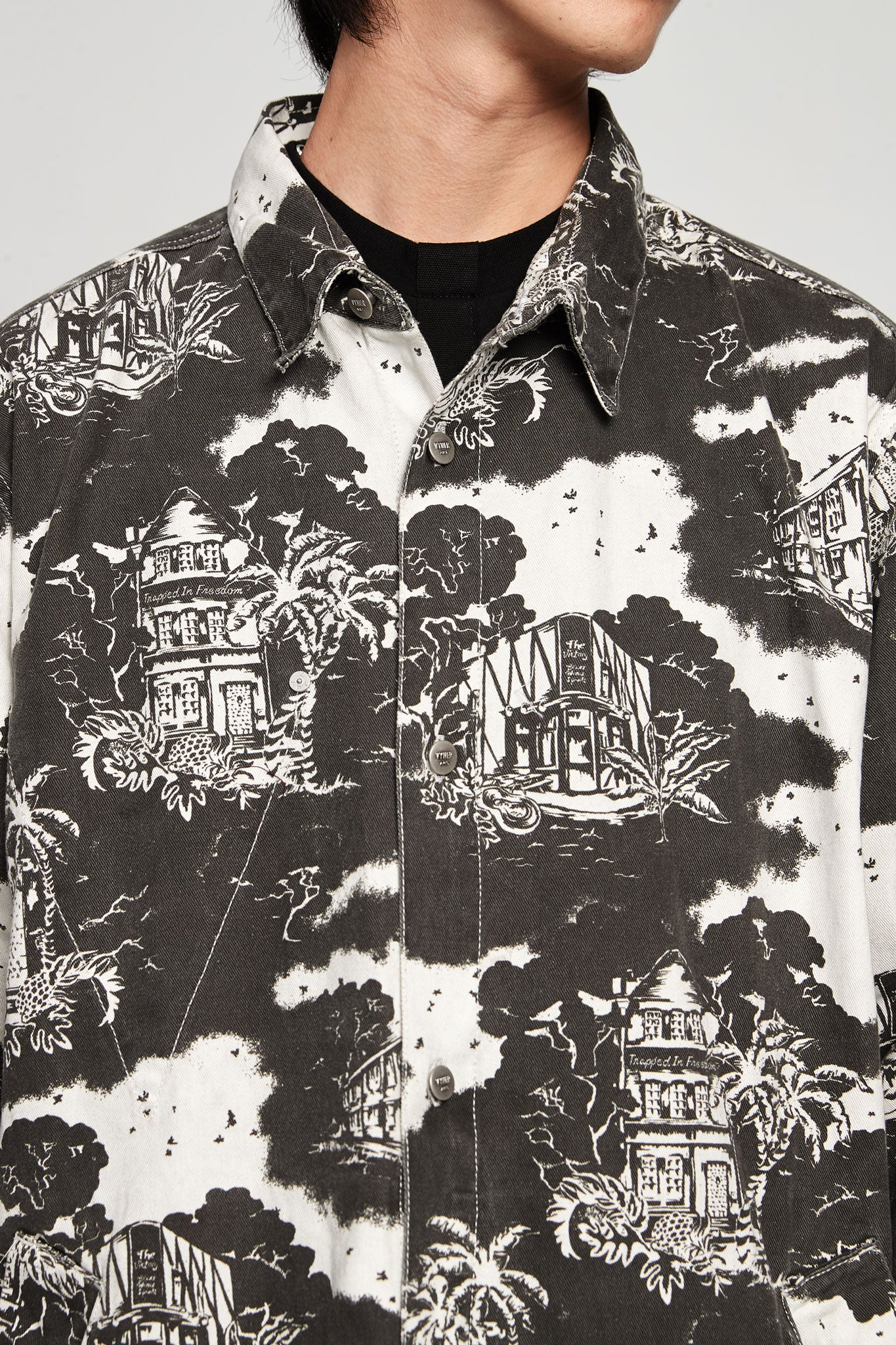 Hawaiian Print Overshirt Twill Black/white