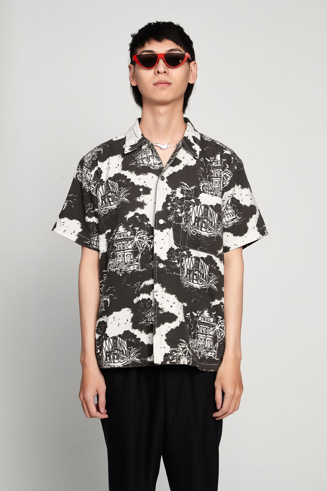 Hawaiian Print Hawaii Shirt Twill Black/white