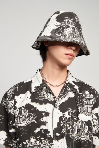 Vyner Articles - Hawaiian Print Bucket Hat Twill Black/white