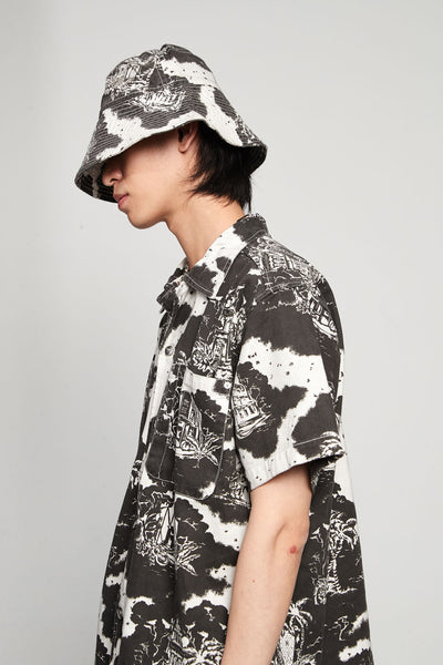 Hawaiian Print Bucket Hat Twill Black/white