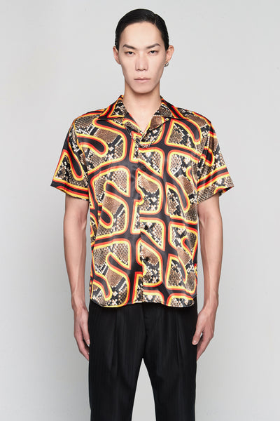SSS World Corp - Hawaiian Shirt Short Sleeve Snake skin Black