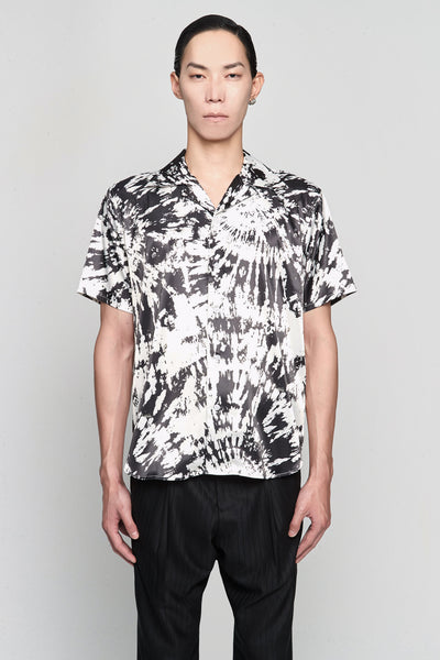 SSS World Corp - Hawaiian Shirt Short Sleeve BLACK/WHITE