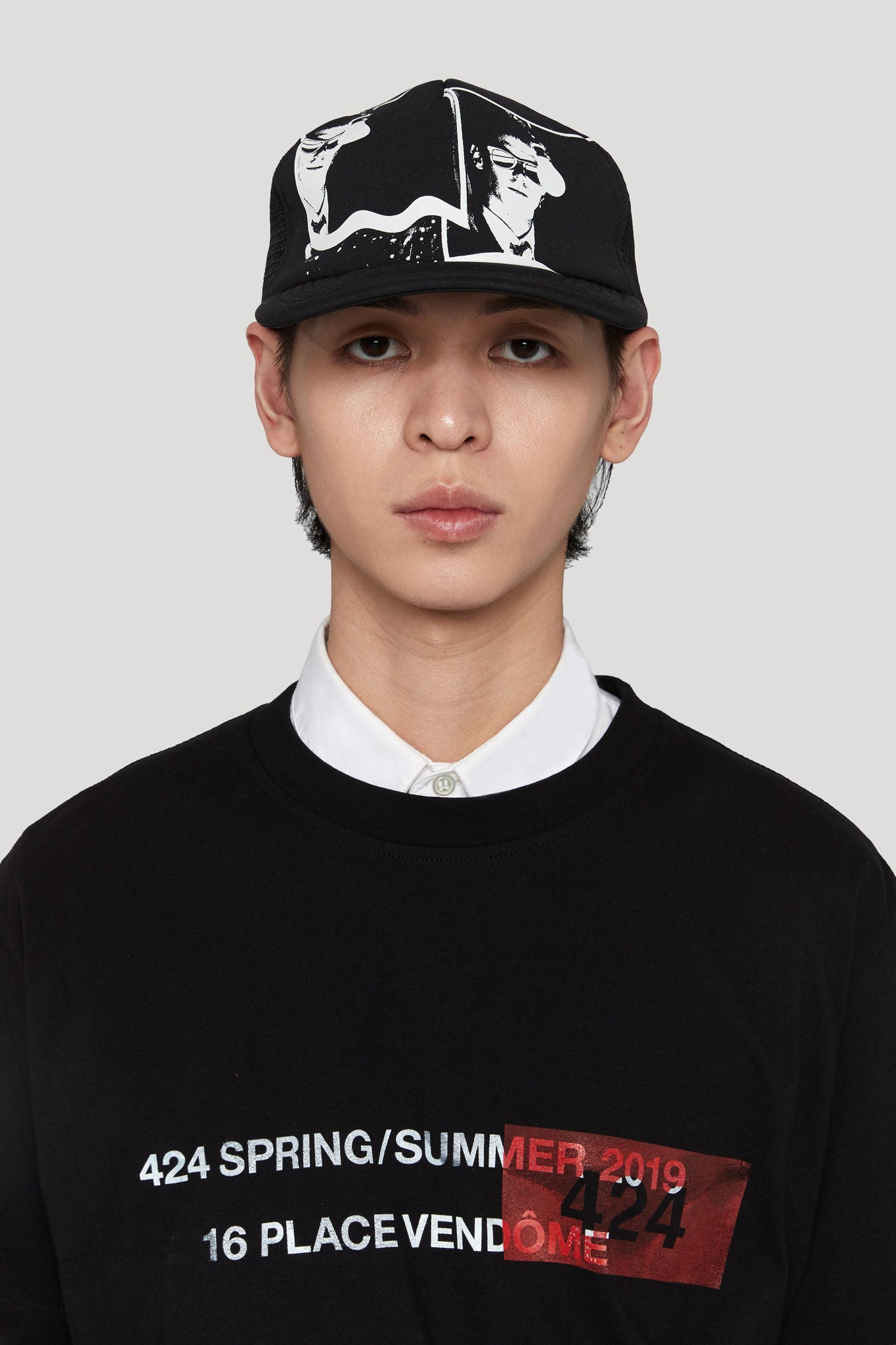 Graphic Printed Trucker Cap Black