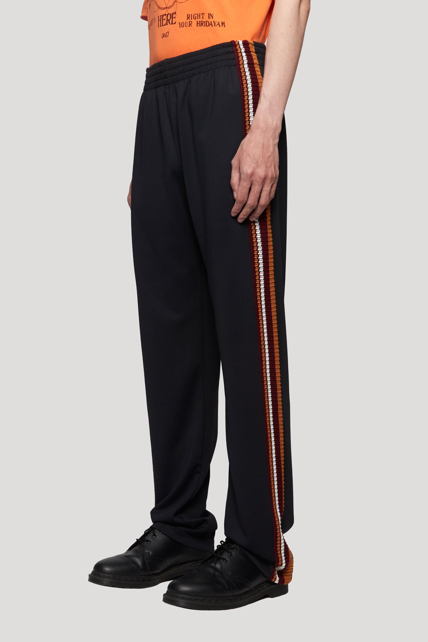 Palms Crochet Stripe Track Pants Black