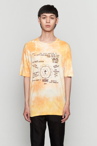 Wales Bonner - Presence Print T-shirt Pale Orange Tie Dye