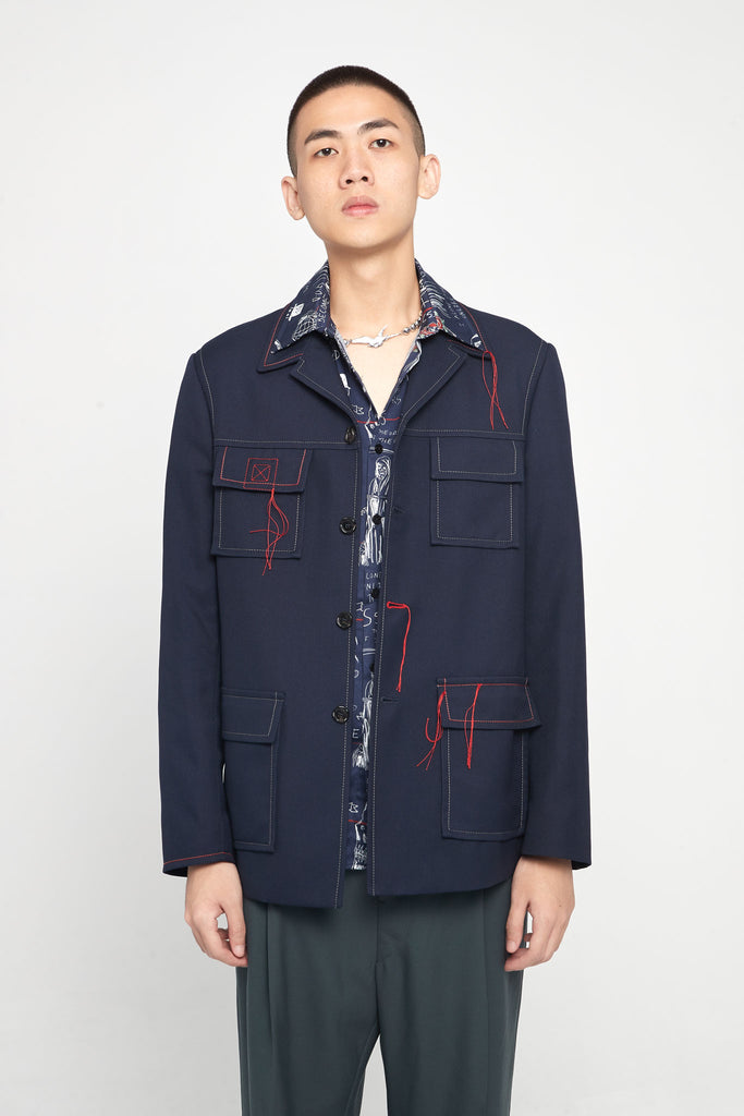 Navy Red Stitched Oversized Worker Jacket