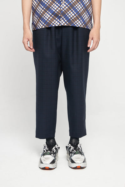 Marni - Blue Navy Shadow Check Wool Cropped Trousers