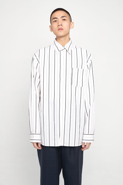 Marni - Black Brown Thin Stripe Oversized Shirt