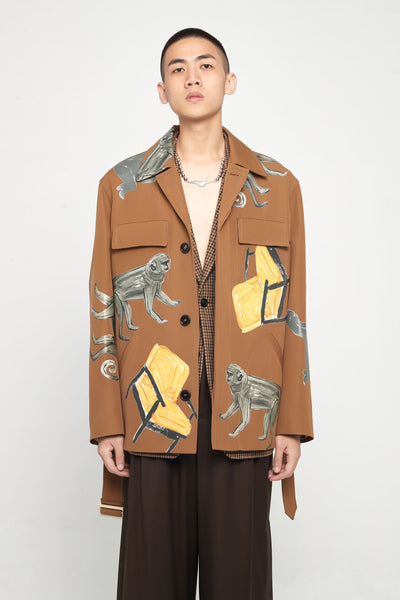 Marni - Clay Graphic Printed Oversized Pocket Worker Jacket
