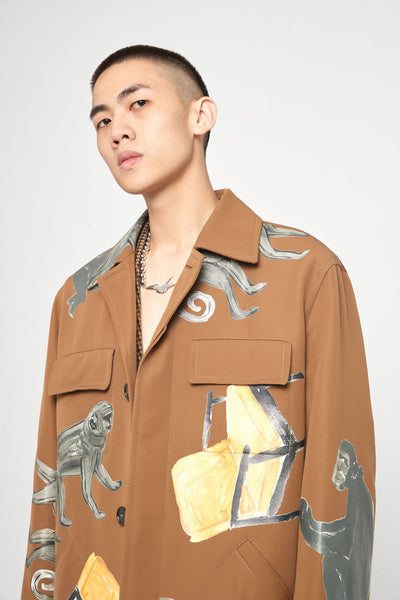 Clay Graphic Printed Oversized Pocket Worker Jacket
