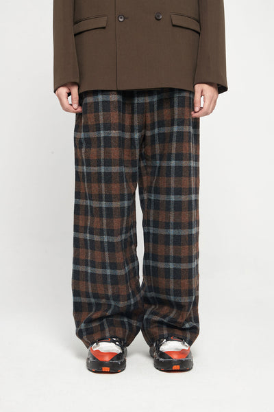 Marni - Black Brown Check Wide Trousers