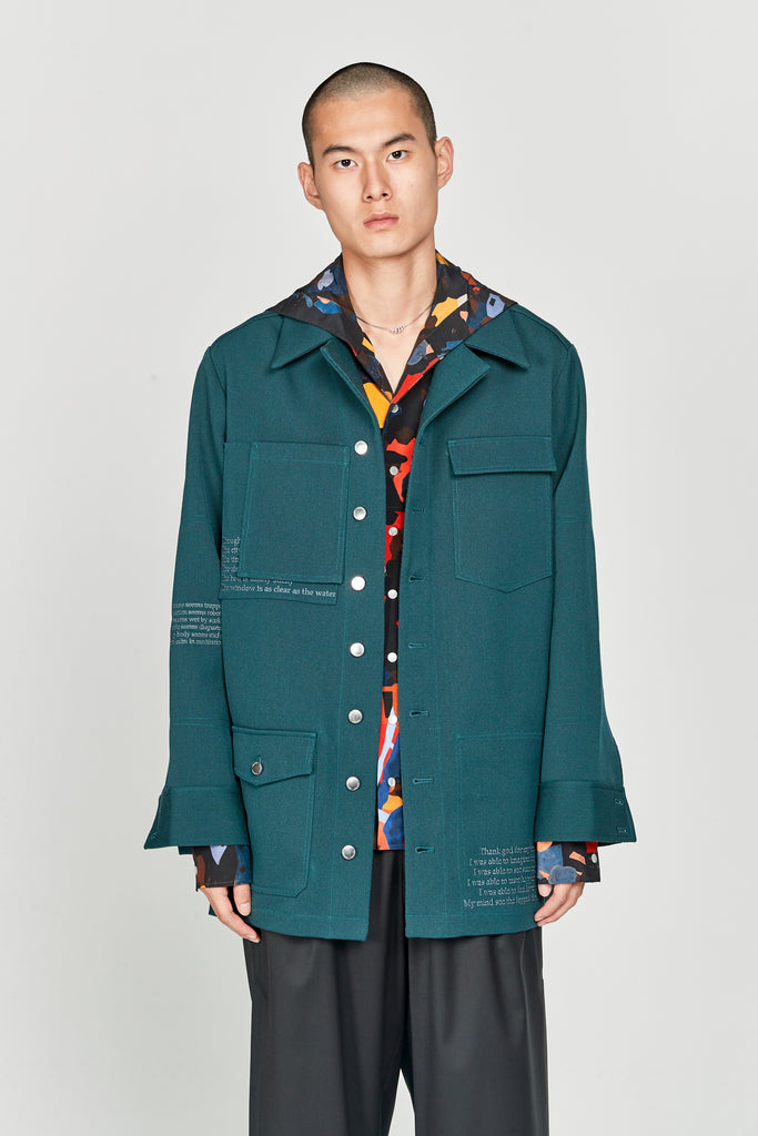 Wil Padded Military Shirt Jacket Eclipse Green Gabardine