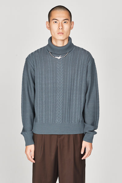 Closed Window - Jackson Textured Boxy Turtleneck Sweater Glacier Blue