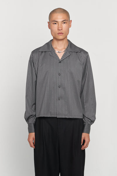 Closed Window - Shin Loose Silk Shirt Mud Grey Pinstripe