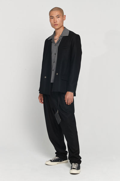 Shin Loose Silk Shirt Mud Grey Pinstripe