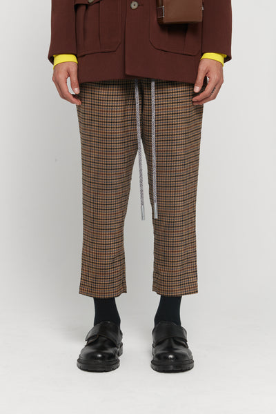 Closed Window - Mich Drawcord Cropped Trousers Spiced Latte Houndstooth