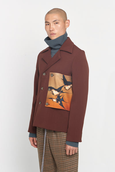 Lucien Military Patches Jacket Cinnamon Brown Gabardine
