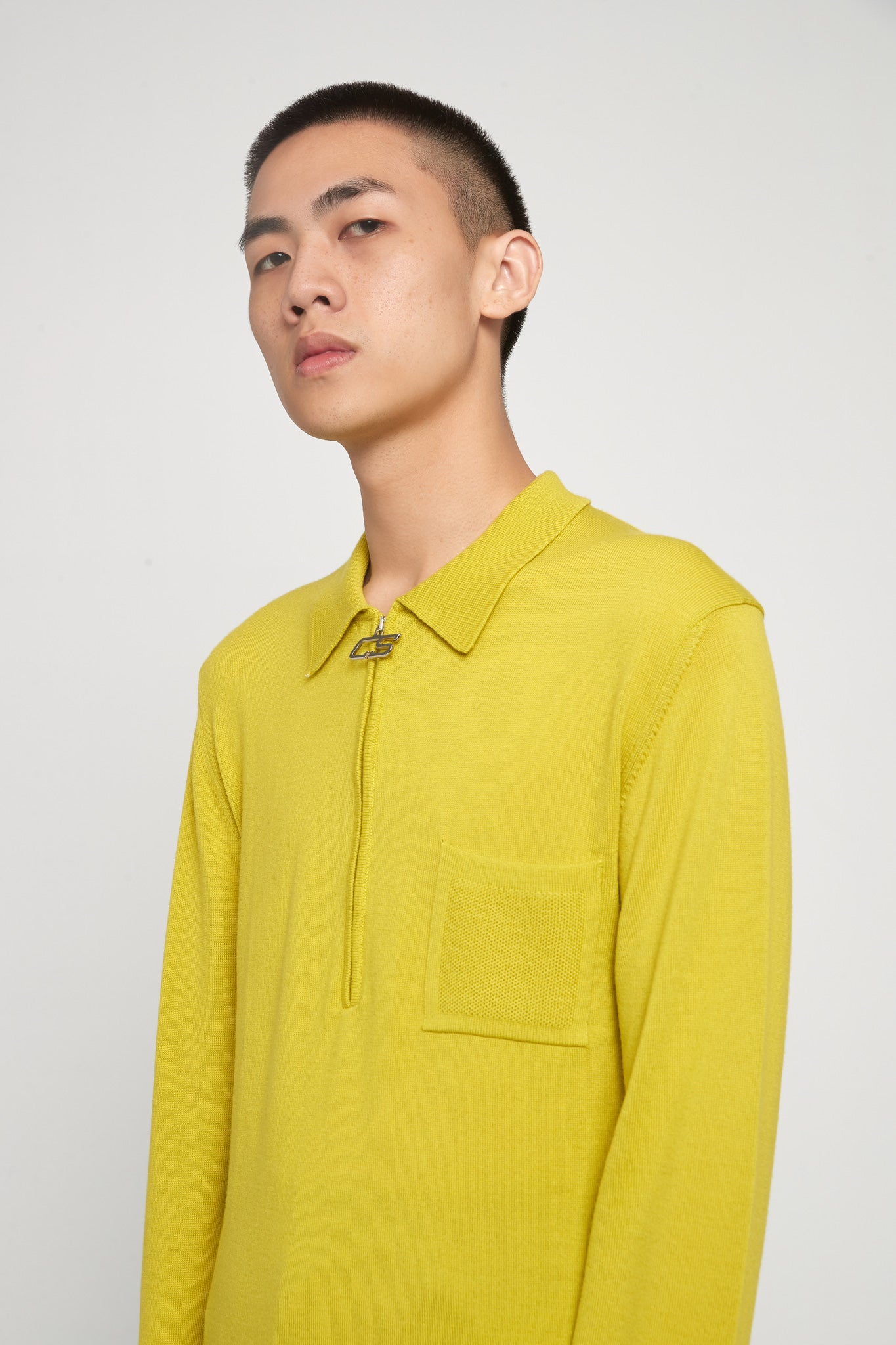 Curtis Acid Yellow Half Zip Polo Sweater