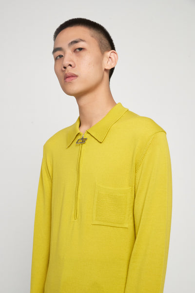 CMMN SWDN - Curtis Acid Yellow Half Zip Polo Sweater