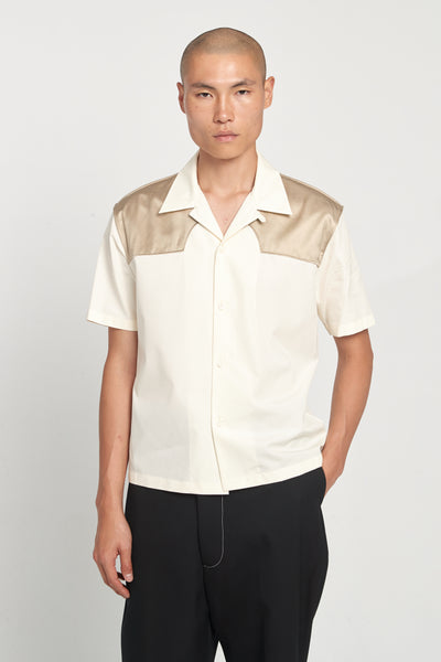 Maison Margiela - Cream Sand Contrast Cotton Poplin SS Worker Shirt