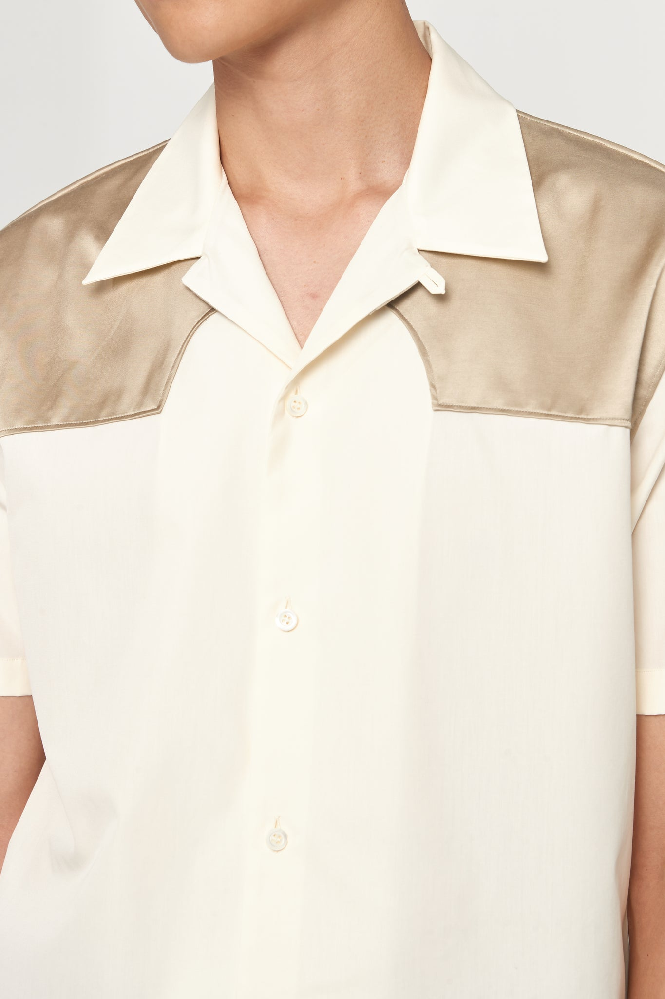 Cream Sand Contrast Cotton Poplin SS Worker Shirt