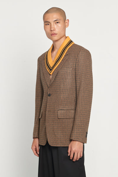 Walnut Houndstooth Felt Suit Jacket